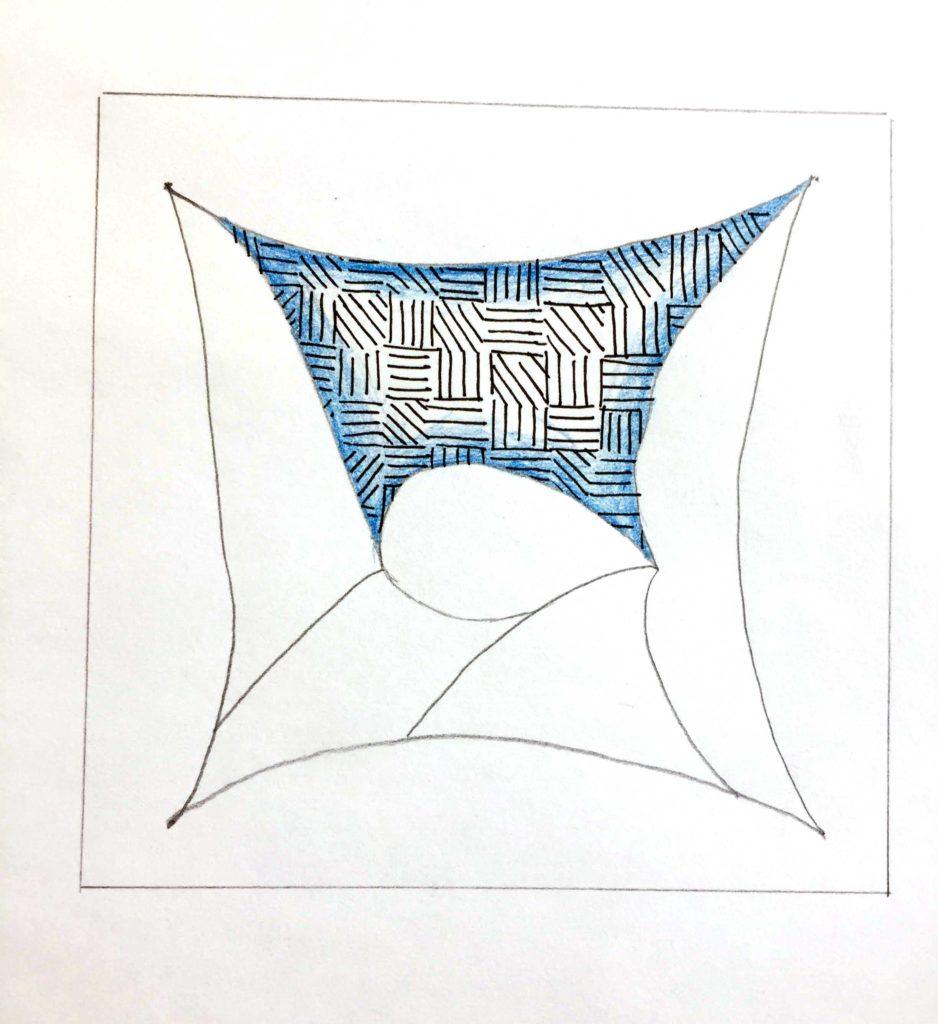 Tangle mit blauer Schattierung