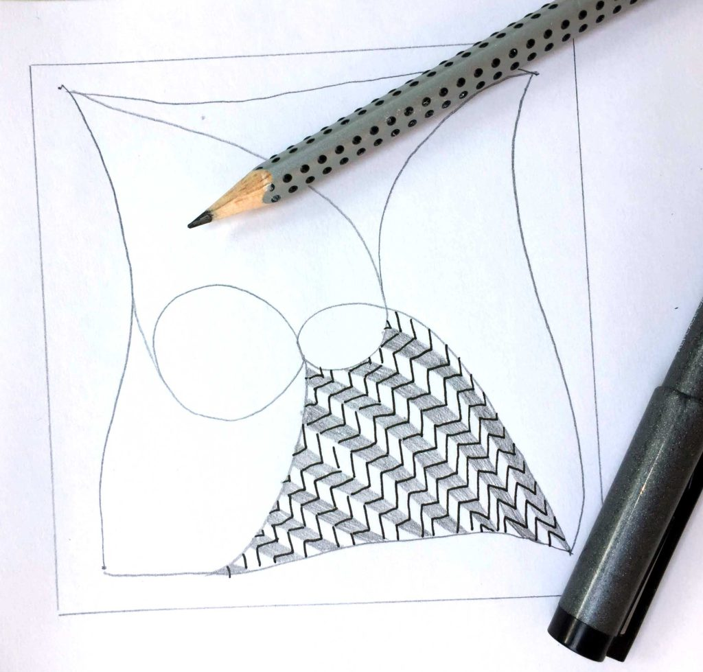 Tangle mit Bleistift und Fineliner